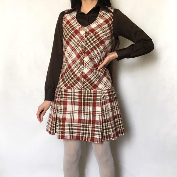 761fe2bc0 Dresses   60s Plaid Pleated Jumper Pinafore Dress Vintage   Poshmark
